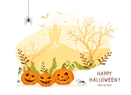 Smiling pumpkins on orange Halloween background with castle. Card with Jack O 'Lanterns, scary trees, bats and spiders. Illustration for children's holiday design, cards, invitations, banners