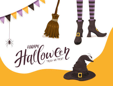 Background with lettering Happy Halloween and Trick or Treat. Black spiders and witches legs in shoes with hat and broom on white and orange background. Illustration for holiday design and cards 矢量图像