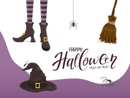Background with lettering Happy Halloween and Trick or Treat. Black spiders and witches legs in shoes with hat and broom on white and purple background. Illustration for holiday design and cards