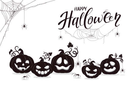 Halloween banner with black silhouettes of smiling pumpkins and spiders isolated on white background. Cartoon elements for holiday design. Illustration for holiday backgrounds, cards, banners