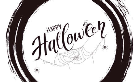 Lettering Happy Halloween isolated on white background with black grunge elements. Card with black spiders and cobwebs. Illustration for children's holiday design, decorations, cards, banner 矢量图像