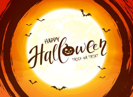 Lettering Happy Halloween on orange background with big Moon and grunge elements. Card with black spiders, cobwebs and flying bats. Illustration for children's holiday design, decoration, card, banner