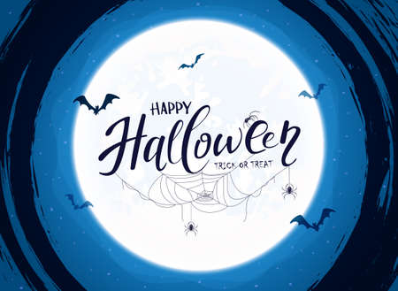 Lettering Happy Halloween on blue background with big Moon and grunge elements. Card with black spiders, cobwebs and flying bats. Illustration for children's holiday design, decorations, cards, banner