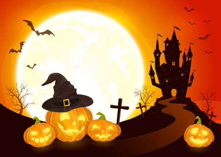 Pumpkins in witch's hat on orange Moon background with dark scary castle. Holiday card with Jack O Lanterns, bats and spiders. Illustration in cartoon style can be used for holiday cards, banners