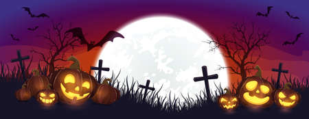 Halloween pumpkins on cemetery. Purple night background. Banner with Jack O 'Lanterns and bats. Illustration in cartoon style can be used for children's holiday design, cards, invitations and banners.