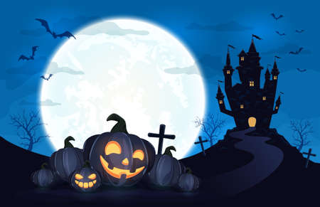 Pumpkins in witch's hat on blue Moon background with dark scary castle. Holiday card with Jack O Lanterns, bats and spiders. Illustration in cartoon style can be used for holiday cards, banners
