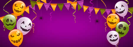 Banner with orange, white and green balloons with scary smiles, pennants and spiders on purple background. Illustration can be used for children's holiday design, decorations, cards, banners
