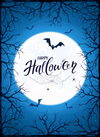 Grunge blue background with Lettering Happy Halloween, big Moon ant trees. Card with bats, black spiders in cobwebs. Illustration can be used for children's holiday design, decorations, cards, banners