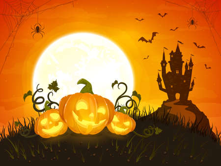 Three happy pumpkins on orange background with Moon and dark scary castle. Holiday card with Jack O Lanterns, bats and spiders. Illustration in cartoon style can be used for holiday cards, banners 矢量图像