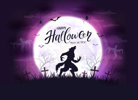 Lettering Happy Halloween and scary werewolf in cemetery on purple background with big Moon. Illustration with monster silhouette can be used for holiday Halloween design, decorations, cards, banners 矢量图像