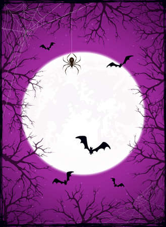 Grunge purple background with Halloween Moon ant trees. Card with bats and black spiders in cobwebs. Illustration can be used for children's holiday design, decorations, cards, banners