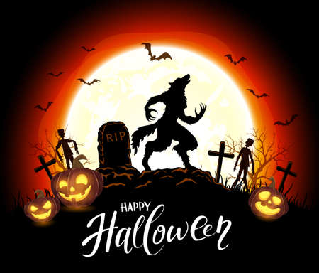 Lettering Happy Halloween and werewolf in cemetery on orange background with Moon and pumpkins. Illustration in cartoon style can be used for holiday design, decorations, cards, banners 矢量图像