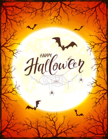 Grunge orange background with text Happy Halloween, big Moon ant trees. Card with bats, black spiders in cobwebs. Illustration can be used for children's holiday design, decorations, cards, banners 矢量图像