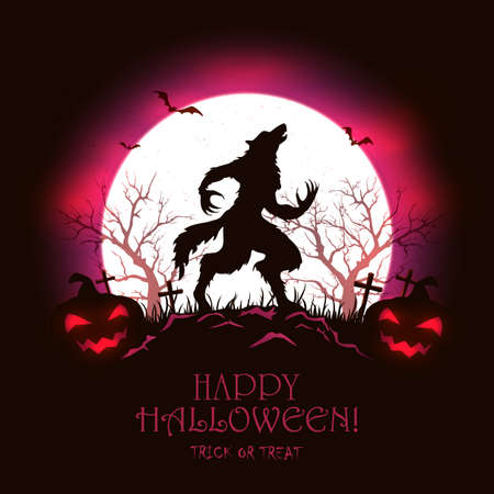 Lettering Happy Halloween with scary werewolf in cemetery and pumpkins on red Moon background. Illustration with monster silhouette can be used for holiday Halloween design, decorations, cards, banner