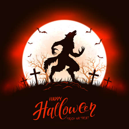 Moon oh red and black background with lettering Happy Halloween and scary werewolf in cemetery. Illustration with monster silhouette can be used for holiday Halloween design, decorations, card, banner 矢量图像
