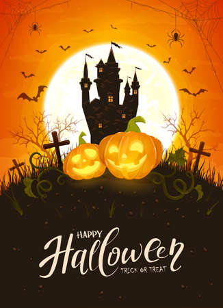 Happy Pumpkins on orange Moon background with dark scary castle. Holiday card with Jack O Lanterns, bats and spiders. Illustration in cartoon style can be used for holiday cards, banners