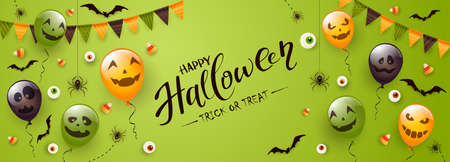 Happy Halloween banner. Black spiders, bats and Halloween balloons with scary smiles on green background. Illustration can be used for children's holiday design, decoration, cards, banners, template. 矢量图像