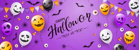 Happy Halloween banner. Black spiders, bats, eyes and Halloween balloons with scary smiles on purple background. Illustration for children's holiday design, decoration, cards, banners, template.