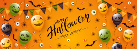 Happy Halloween banner. Black spiders, bats, eyes and Halloween balloons with scary smiles on orange background. Illustration for children's holiday design, decoration, cards, banners, template. 矢量图像