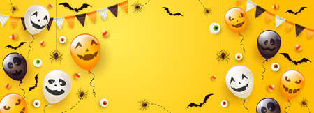 Happy Halloween banner. Black spiders, bats, eyes and Halloween balloons with scary smiles on yellow background. Illustration for children's holiday design, decoration, cards, banners, template.