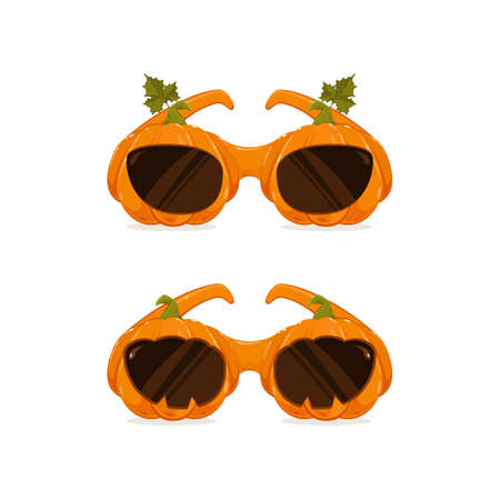 Halloween costume. Two pumpkin glasses isolated on white background. Can be used for Halloween party. Illustration for children's holiday design, decoration, cards, banners, template