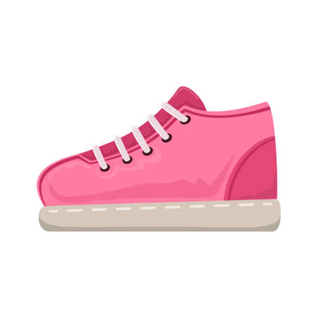 Pink sneakers icon isolated on white background. Running and fitness shoes. Modern and fashionable sports shoes. Training sneaker. Shoes for running, training, fitness and other sports. 矢量图像