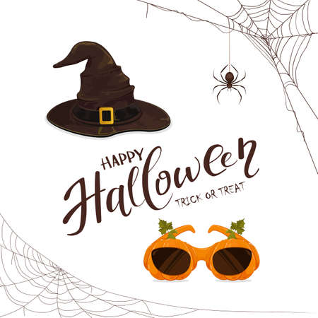 Black spiders and lettering Happy Halloween with witches hat and pumpkin glasses isolated on white background. Illustration for children's holiday design, decoration, cards, banners, template