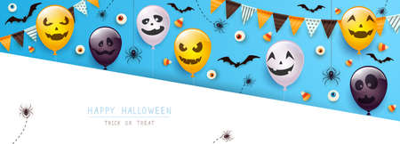 Happy Halloween banner. Black spiders, bats, eyes and Halloween balloons with scary smiles on blue and white background. Illustration for children's holiday design, decoration, cards, banner, template 矢量图像