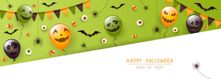 Black spiders, bats, eyes and Halloween balloons with scary smiles on green and white background. Happy Halloween banner. Illustration for children's holiday design, decoration, card, banner, template 矢量图像
