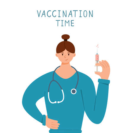 Vaccination time concept. Woman nurse or doctor with syringe is vaccinating. COVID-19 pandemic. A female medical healthcare professional. Illustration for medical theme, design, banners. 矢量图像