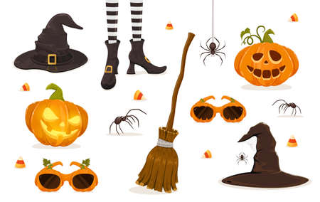 Set of Halloween icons isolated on white background. Pumpkins, spiders, candies, witches hat, legs, glasses and broom. Illustration for children's holiday design, decoration, cards, banners, template