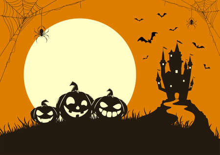Silhouette of happy pumpkins on orange background with Moon and dark scary castle. Holiday card with Jack O Lanterns, bats and spiders. Illustration for holiday cards, invitations, banners, templates