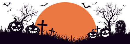 Silhouette of Halloween pumpkins on cemetery. Orange Moon on white background. Banner with Jack O 'Lanterns and bats. Illustration for children's holiday design, cards, invitations, banners, templates 矢量图像
