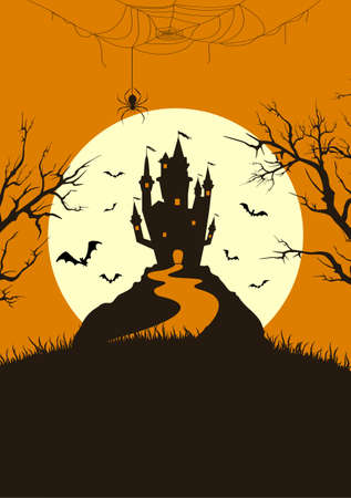 Silhouette scary castle on orange background with Moon. Holiday card with bats and spiders. Illustration for holiday cards, invitations, banners, templates 矢量图像