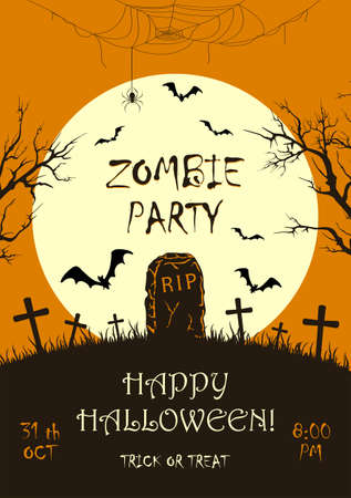 Lettering Zombie Party on orange Halloween background with silhouette of gravestone and big Moon. Bats on cemetery. Illustration for children's holiday design, cards, invitations, banners, templates 矢量图像