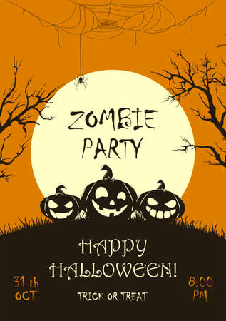 Lettering Zombie Party on orange Halloween background with silhouette of happy pumpkins and big Moon. Illustration for children's holiday design, cards, invitations, banners, templates