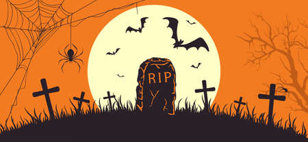 Halloween banner with Tombstone. Orange Halloween background with gravestone and Moon. Bats on cemetery. Illustration for children's holiday design, cards, invitations, banners, templates