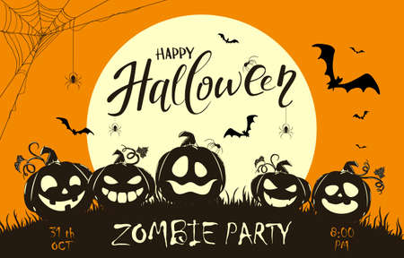 Banner with lettering Zombie Party on orange Halloween background with silhouette of happy pumpkins and big Moon. Illustration for children's holiday design, cards, invitations, banners, templates