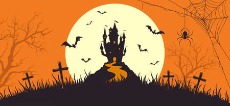 Halloween banner with silhouette of scary castle on orange background with full Moon. Holiday card with bats and spiders. Illustration for holiday cards, invitations, banners, Halloween templates