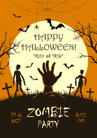Scary monster hand with zombies on cemetery. Zombie Party on orange Halloween background with Moon. Illustration can be used for children's holiday design, cards, invitations, banner, template