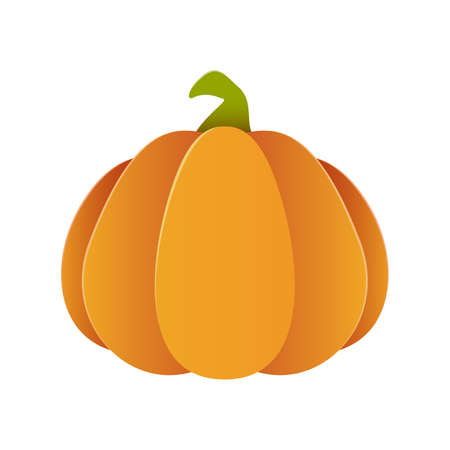 Paper pumpkin isolated on white background. Element for holiday design. Icon for Halloween or Thanksgiving Day. Illustration for holiday backgrounds, cards, invitations, banner, template for party.