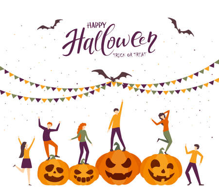 Dancing people and happy pumpkins. Halloween Party with happy people and bats. Illustration in flat cartoon style for children's holiday design, cards, invitations, banners, Halloween templates 矢量图像