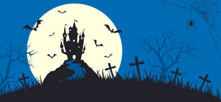 Halloween banner with silhouette of scary castle on blue background with full Moon. Holiday card with bats and spiders. Illustration for holiday cards, invitations, banners, Halloween templates