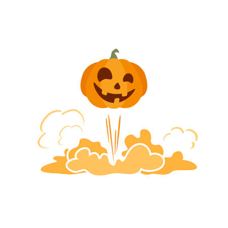 Orange Halloween pumpkin. Halloween background with flying Jack 'o Lantern. Illustration in flat cartoon style for children's holiday design, cards, invitations, banners, Halloween templates
