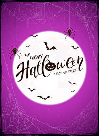 Halloween purple background with Moon and spiderwebs. Grunge card with bats and black spiders in cobwebs. Illustration can be used for children's holiday design, decorations, cards, banners