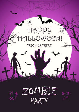 Scary monster hand with zombies on cemetery. Zombie Party on purple Halloween background with Moon. Illustration can be used for children's holiday design, cards, invitations, banner, template
