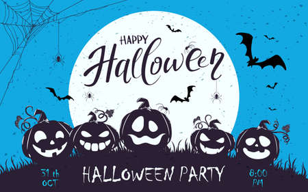 Banner with lettering Zombie Party on blue Halloween background with silhouette of happy pumpkins and big Moon. Illustration for children's holiday design, cards, invitations, banners, templates