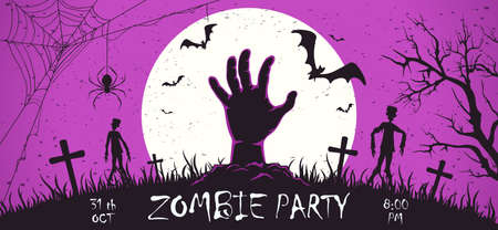 Scary monster hand with zombies on cemetery. Zombie Party on purple Halloween banner with Moon. Illustration can be used for children's holiday design, cards, invitations, banner, template