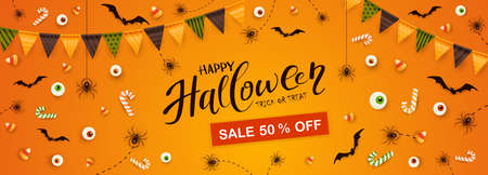 Happy Halloween banner. Discount coupon. Black spiders, bats, eyes, candies and Halloween Sale on orange background. Illustration for children's holiday design, decoration, cards, banners, template.