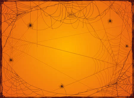 Halloween orange background with spider webs. Holiday Halloween Card with grunge border from cobwebs. Illustration can be used for children's holiday design, decorations, cards, banners
